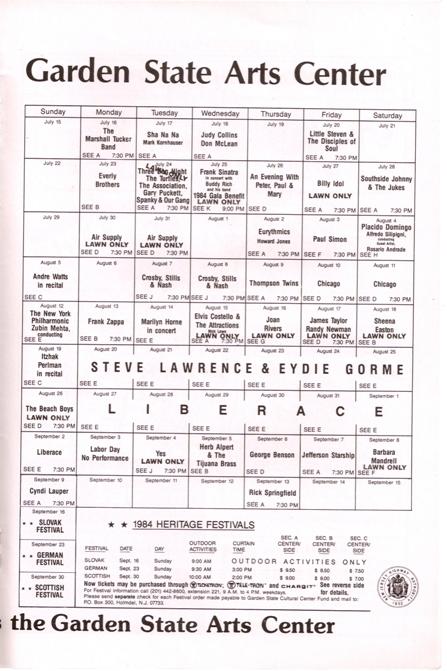 Garden State Arts Center August 13 1984